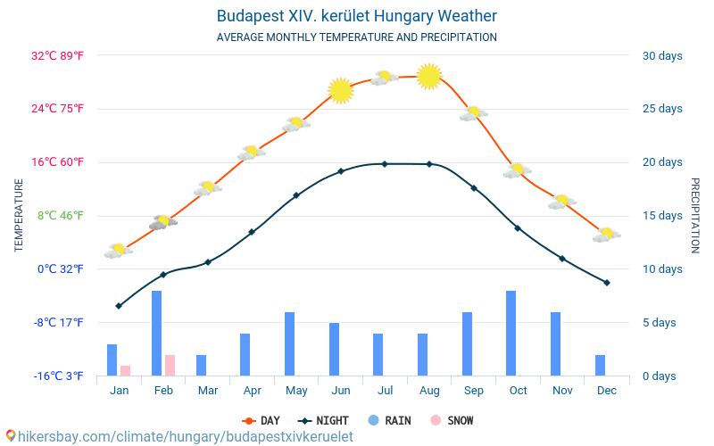 Budapest XIV. kerület - Gennemsnitlige månedlige temperatur og vejr 2015 - 2021 Gennemsnitstemperatur i Budapest XIV. kerület gennem årene. Gennemsnitlige vejr i Budapest XIV. kerület, Ungarn. hikersbay.com