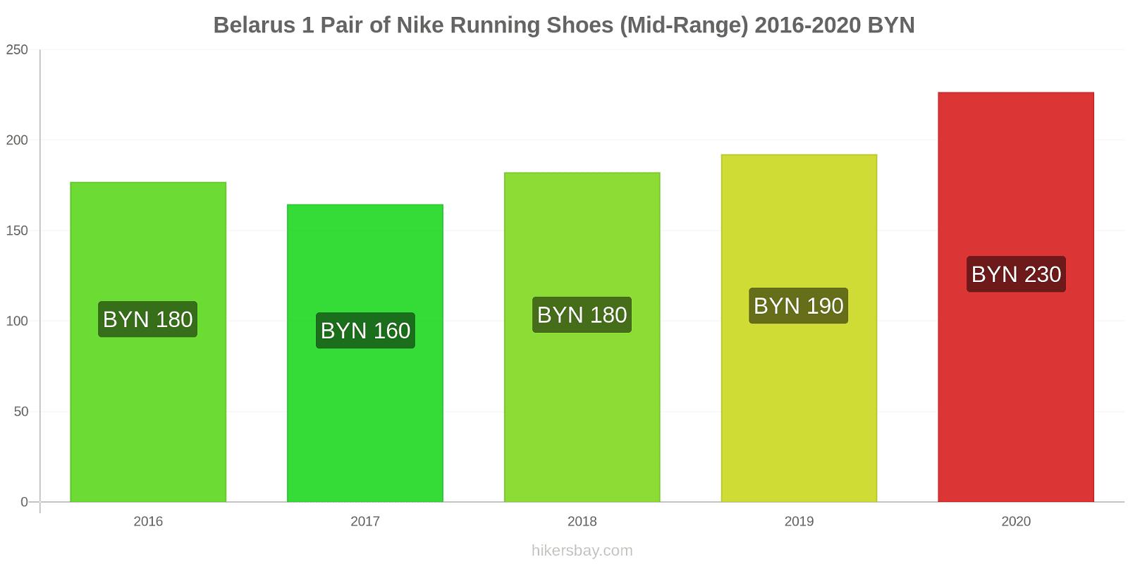 Belarus price changes 1 Pair of Nike Running Shoes (Mid-Range) hikersbay.com